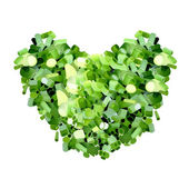 A Heart Shape of Diced Spring Onions or Slices Leeks — Stock Photo