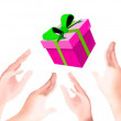 A Beautiful Pink Gift Box Falling Down on Human Hands — Stock Photo