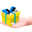 Hands Hoding and A Decorative Yellow Gift Box — Stock Photo