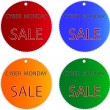 Stock Photo: Cyber Monday Sale on Muti Colors Circle Labels