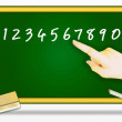 Pointing Finger at Number on A Blackboard — Stock Photo