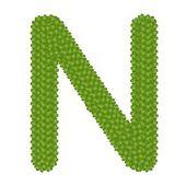 Trevo de quatro folhas de alfabeto letra n — Fotografia Stock