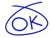Cor azul da palavra ok em um círculo — Foto Stock