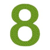 アルファベット番号 8 の 4 つ葉のクローバー — ストック写真