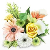 Colorful Flower Bouquet Isolated on White Background — Stock Photo