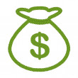 Four Leaf Clover of Dollar Sign in Money Bag Icon — Stock Photo