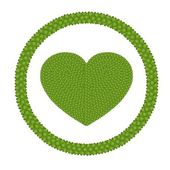 四叶三叶草的心圆帧中的形状 — 图库照片