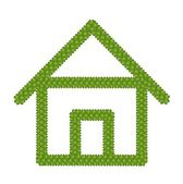 Green Four Leaf Clover of Home Icon — Stock Photo