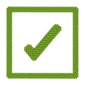 Four Leaf Clover of Check Mark Icon in Square Frame — Stock Photo