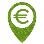 Four Leaf Clover of Euro Sign and Navication Icon — Stock Photo