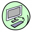 The Computer Workstation on Round Green Background — Stock Vector