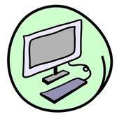The Computer Workstation on Round Green Background — Stockvektor