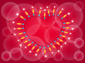 Vector Heart Lights Frame on Red Background — Photo