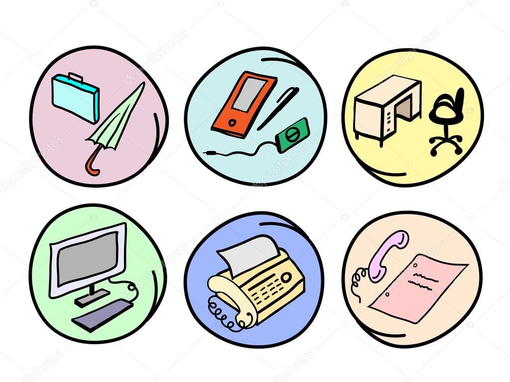 Cartoon Office Desk And Chair A vector cartoon of office supply, fax