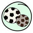 Two Soccer Balls on Green Round Background — Stock Vector