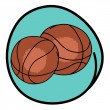 Two Brown Basketballs on Blue Round Background — Stock Vector