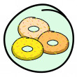 A Donut Assortment on Round Green Background — Stock Vector