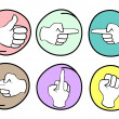 Set of Different Hand Signs on Round Background — Stock Vector