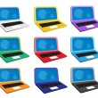 Colorful Illustration Set of Computer Notebook Icon — Stock Vector
