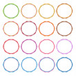 Colorful Illustration Set of Circle Vintage Frames — Stock Vector