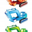 A Colorful Illustration Set of Excavator Icons — Stock Vector