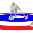 Постер, плакат: Athletes Playing Curling Sport on Ice Curling Sheet