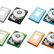 Colorful Illustration Set of Computer Hard Disk — Stock Vector
