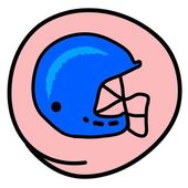 A Football Helmet on Pink Round Background — Stock Vector