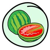 Fresh Green Watermelons on Round Green Background — Stockvektor
