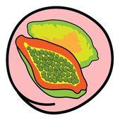 Fresh Ripe Papayas on Round Pink Background — Vector de stock