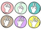 Person Counting Hands 0 to 5 on Round Background — Stock Vector