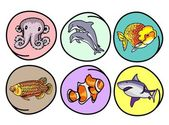 A Set of Aquatic Animal on Round Background — Stock Vector
