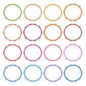 Conjunto colorida ilustración de marcos vintage círculo — Vector de stock