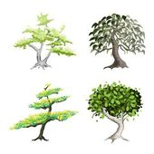 Un conjunto de plantas y árboles verdes isométrico — Vector de stock
