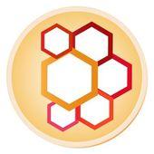 Colorida ilustración de hexágonos en la etiqueta del círculo brillante — Vector de stock