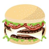 Juicy Cheese Burger on A White Background — Stock Vector
