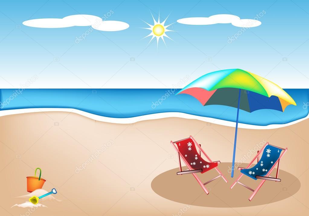 illustration der liegest hle mit sonnenschirm und spielzeug stockvektor iamnee 28685467. Black Bedroom Furniture Sets. Home Design Ideas