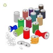 Soda canettes avec symbole de recyclage pour sauver le monde — Vecteur