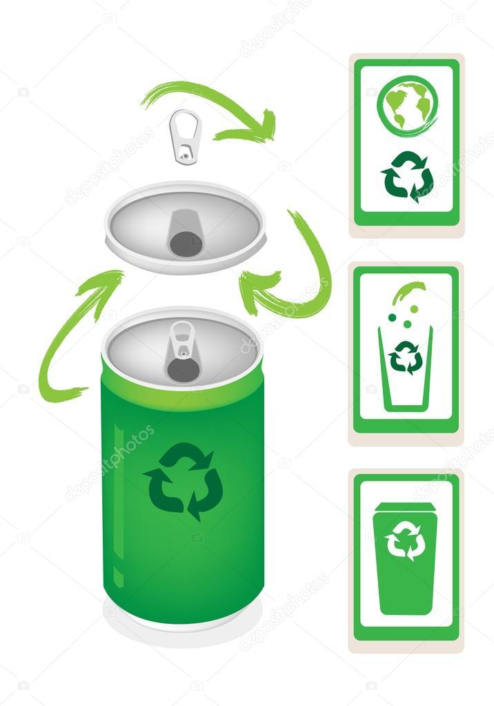 Lata de alum nio com recicl o s mbolo e a lata de lixo - Simbolo de aluminio ...