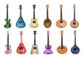 A Set of Beautiful Ukulele Guitars on White Background — Stock Vector