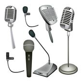 A Set of Microphone on White Background — Stock Vector