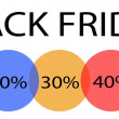 Black Friday Banner with Percentages Discount Label — Stock Vector