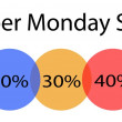 cyber monday percentage banner with percentages discount label — Stock Vector