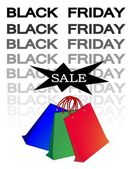 Paper Shopping Bags for Black Friday Sale — Stock Vector