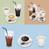Hot Coffee, Takeaway Coffee and Iced Coffee — Stock Vector