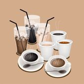 Hot Coffee and Iced Coffee for Coffee Time — Vector de stock