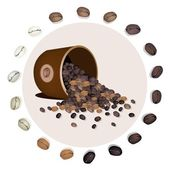 Various Kind of Coffee Beans Dropped from A Bucket — Stock Vector