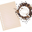 Stock Vector: Coffee Stains of Coffee Bewith Blank Paper