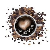 Hot Coffee with Heart Shape and Love Word — Vettoriale Stock