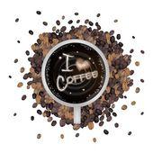 Heißen kaffee mit liebe ich kaffee wort — Stockvektor